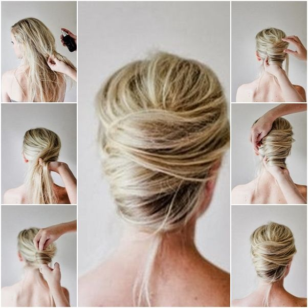 How to Make Messy French Twist Updo Hairstyle tutorial and instruction. Follow u… » Trends Ideen 2019 – Messy Bun Frisuren