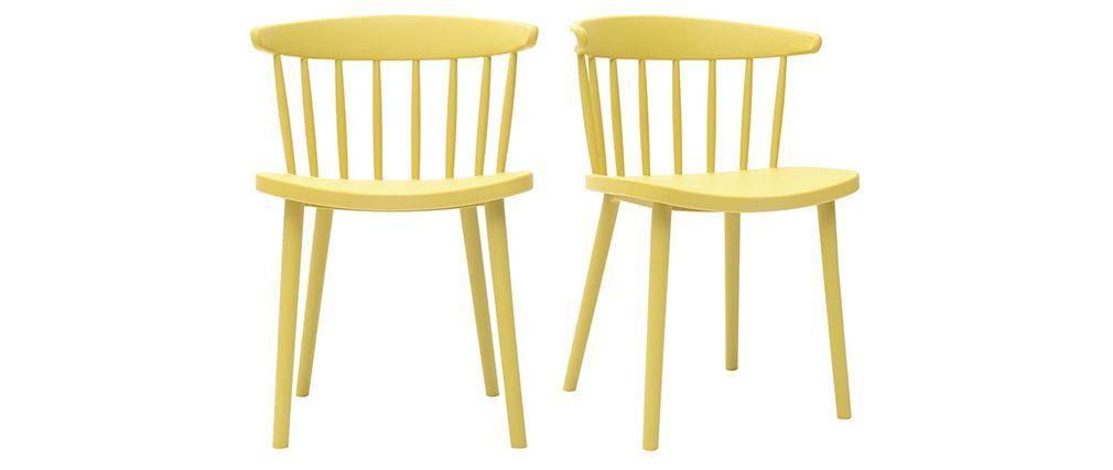 Chaises Design A Barreaux Jaunes Interieur Exterieur Lot De 2 Holly Chaise Design Miliboo Chaise