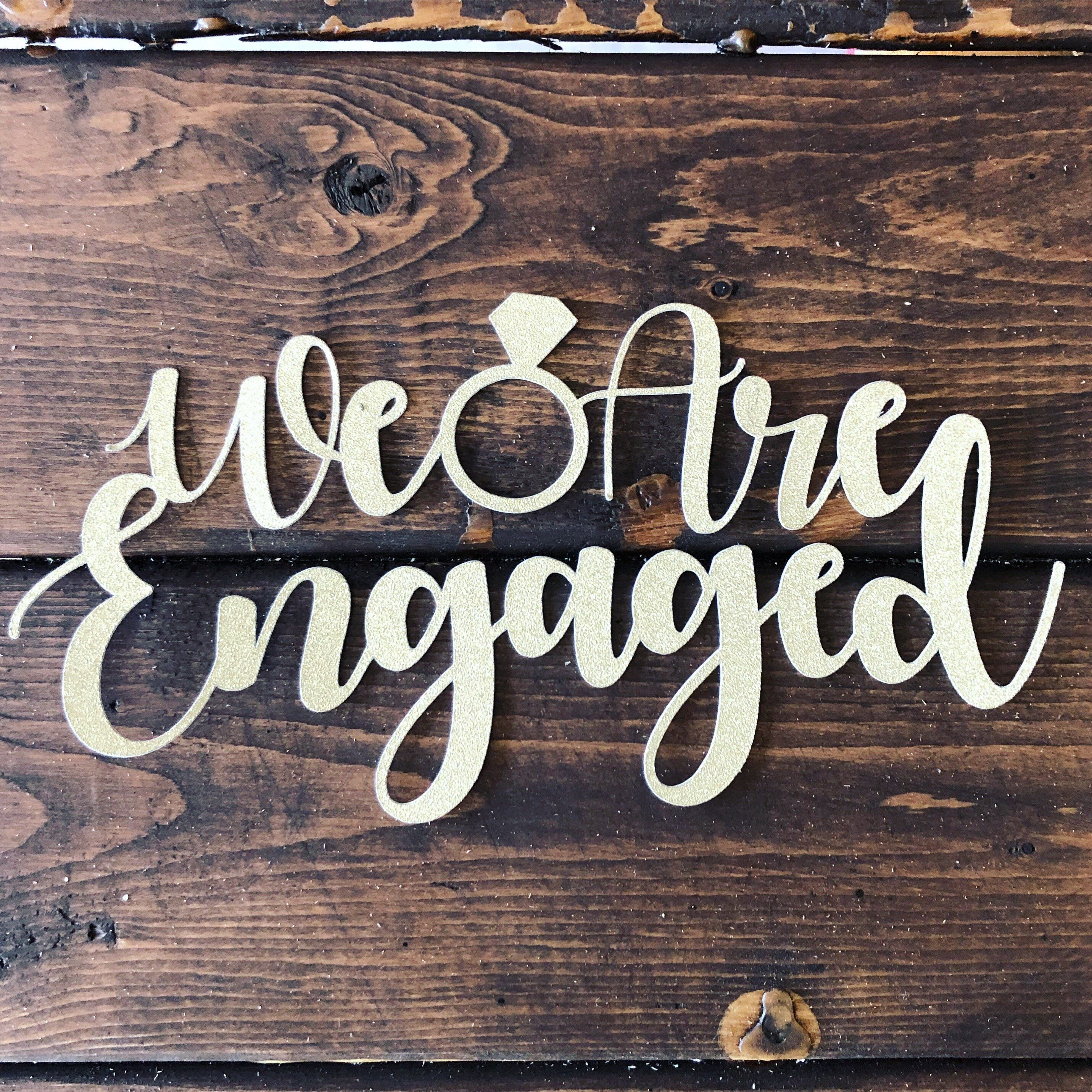 we are engaged gold glitter cake topper engagement cake topper
