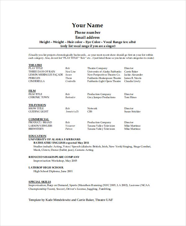 Theatre Resume Template Technical Theatre Resume Template  The General Format And Tips
