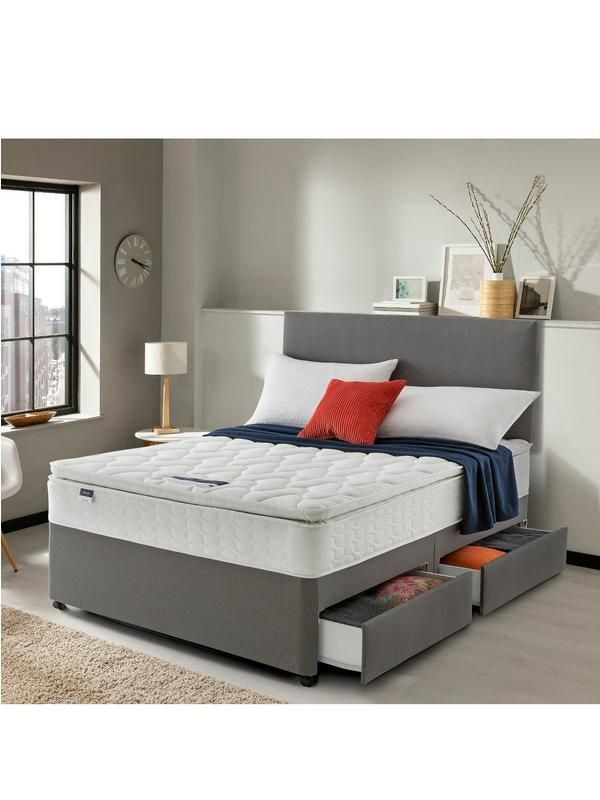 2a1f60655eac Silentnight Miracoil 3 Pippa Ultimate Pillowtop Divan Bed in Single, Double  and King Sizes; with storage or without Please note: the headboard shown in  this ...