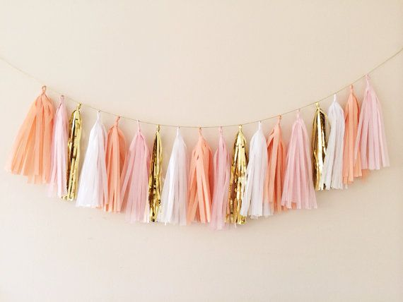 Peach, Blush and Gold Tassel Garland Banner - Party Decor, Wedding Decor, Birthday Party, Photo Backdrop, Baby Shower and Party Decoration