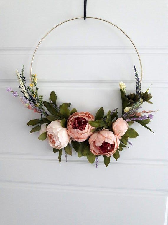 Photo of Modern Elegant Peony Wreath Minimalist Gift Home Decor Wedding Decoration Hoop W…