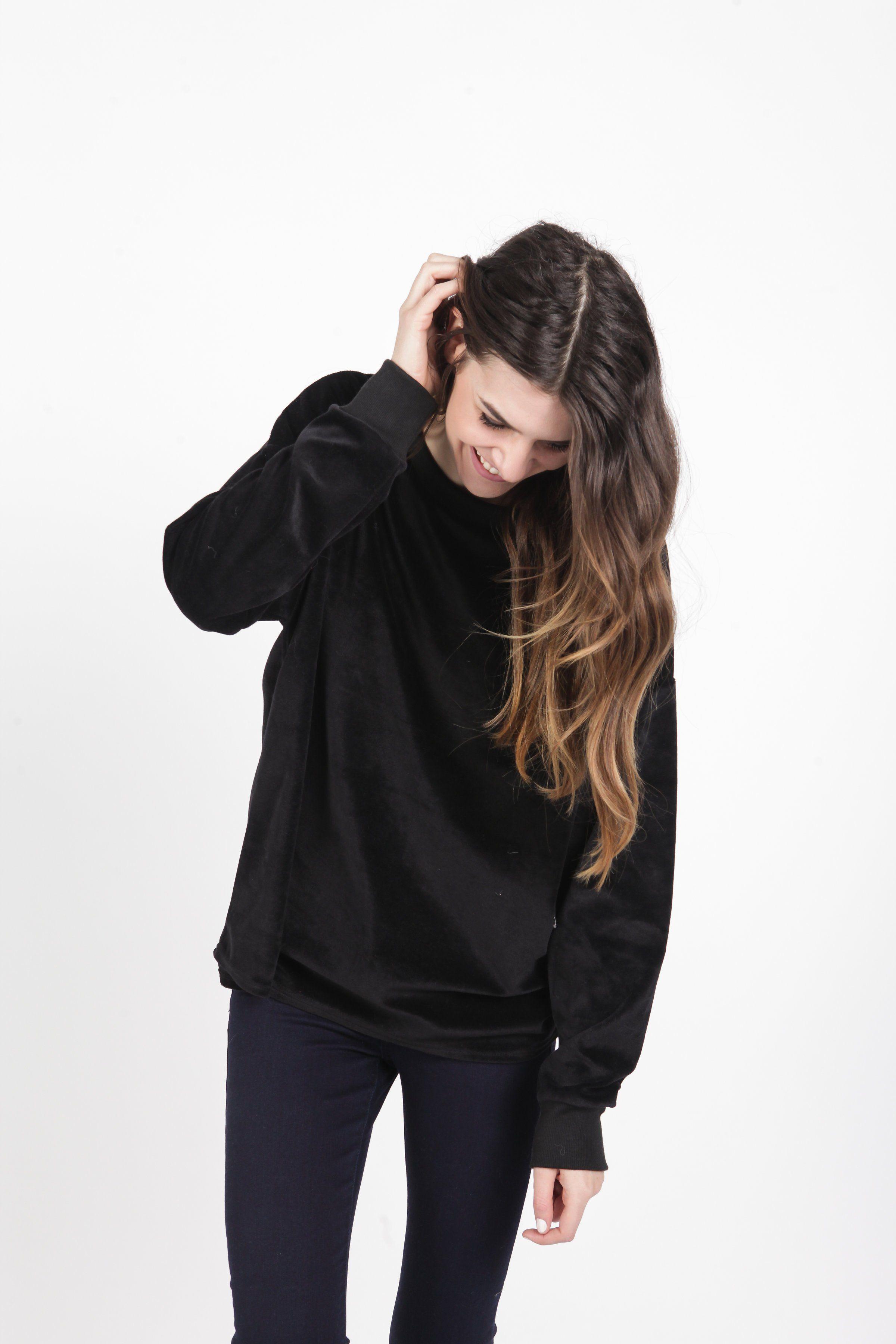 Gerri Velour Sweatshirt - Black