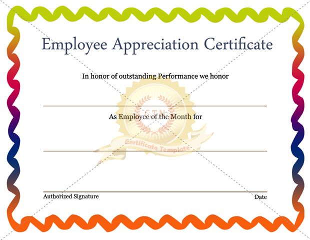 Employee Recognition Certificate Template Appreciation  Home