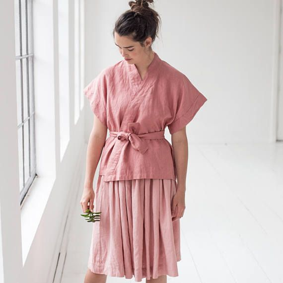 Washed and soft linen wrap KIMONO in salmon blush
