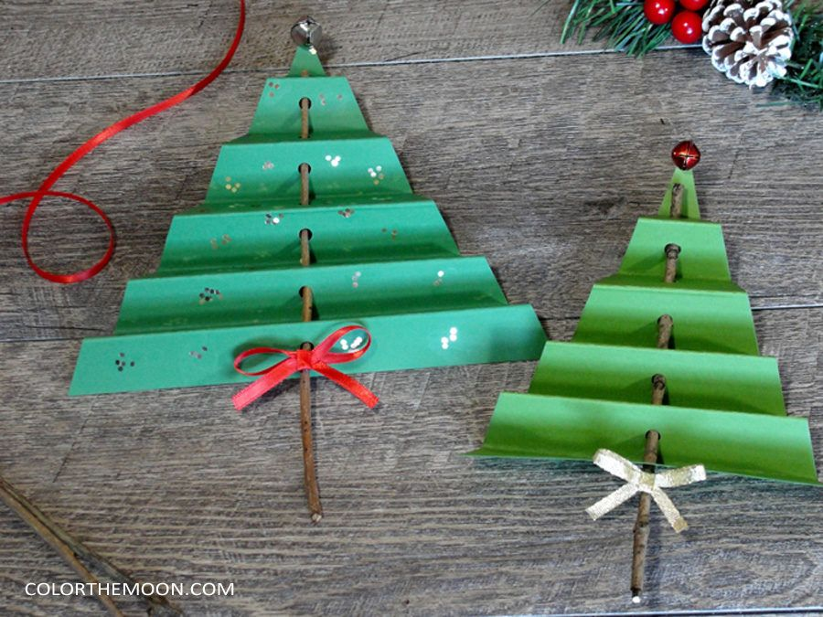 Folded Paper Tree An Easy Christmas Craft For Kids Christmas Paper Crafts Paper Christmas Decorations Christmas Crafts