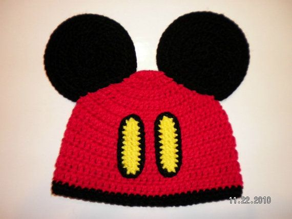 Custom crochet Mickey Mouse pants ears beanie hat photo prop ...