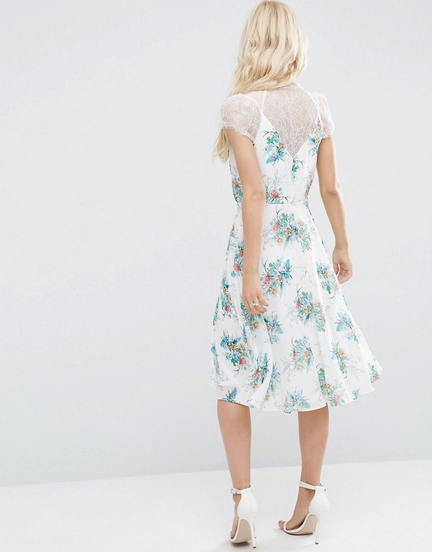 ASOS Kate Lace Midi Dress In White Floral - Multi