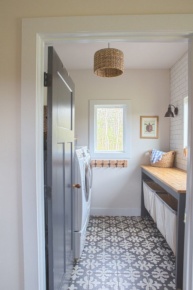 Farmhouse Laundry Room With Grey Interior Door Grey Custom