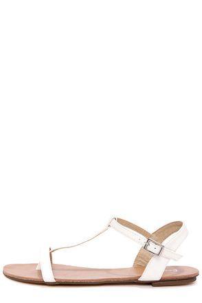 Maya 1 White T Strap Thong Sandals $19