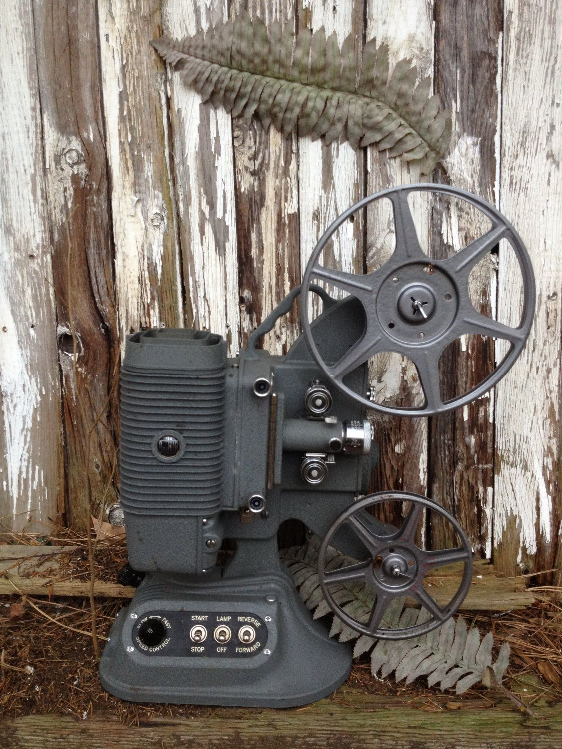 Vintage Film Projector/DeJur 8MM Film Projector/Steampunk Decor/Industrial Decor. $74.00, via Etsy.