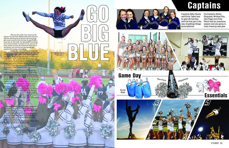 All Saintsu0027 Episcopal School / Sports / Varsity Cheer Spread · Yearbook  ThemeYearbook DesignYearbook IdeasYearbook Sports SpreadsVarsity  CheerSports PageGo ...