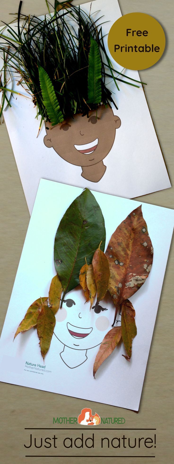 Free printable: Your kids will ADORE this nature head collage #beautifulnature