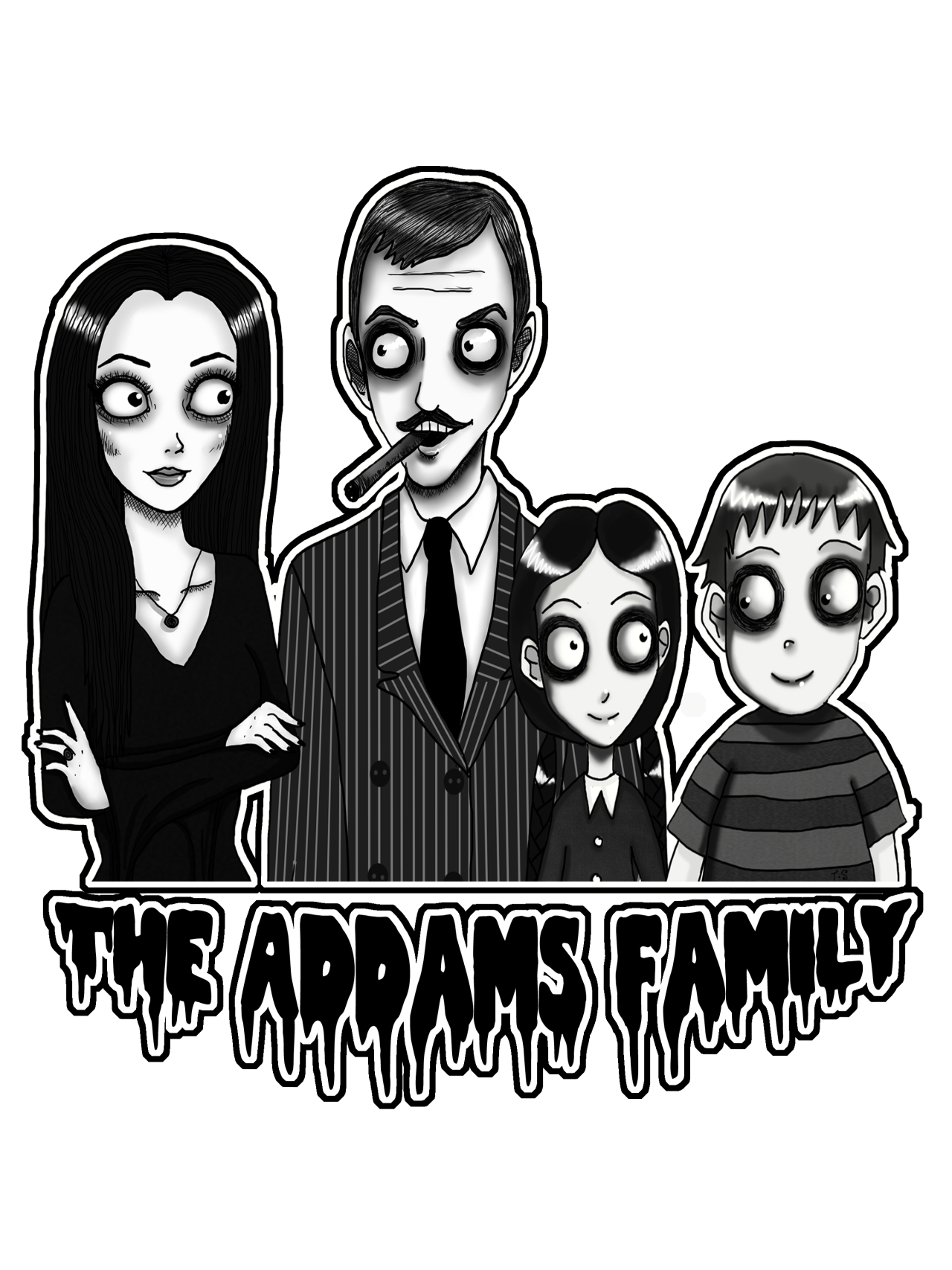 Ravenous Decay Artistic Anthesis The Addams Family Portrait Is On A Tshirt Now Wooo Http Www Red Family Cartoon Addams Family Musical Addams Family