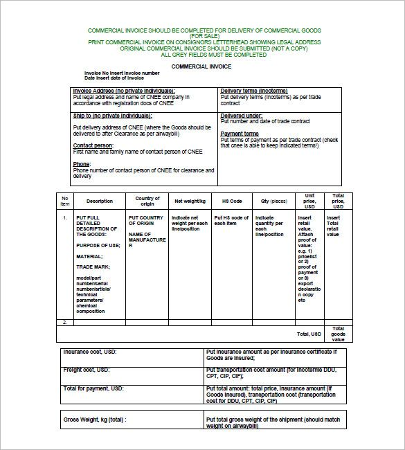 Commercial Invoice Templates 10 Free Word Excel Pdf Free