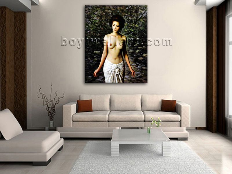 Elegant designed 1-panel giclee print on artist canvas with female in realism style. It is available in numerous sizes to fit any size room!