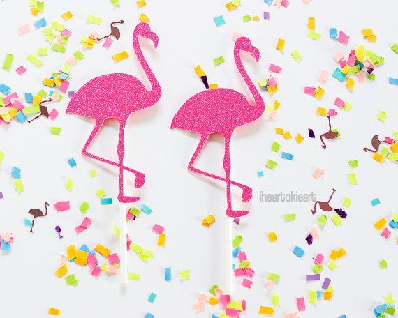 12 Pink Glitter Flamingo Cupcake Toppers / by iheartokieart