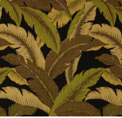 Swaying Palms Coal by Tommy Bahama. $38.99/m. I'm definitely making toss pillows and chair pads with this fabric. I love the black background.