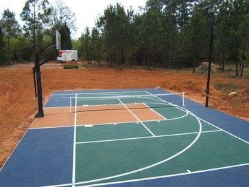 Pin By Hilary Grulke On Backyard Ideas Sport Court Outdoor Basketball Court Backyard Sports