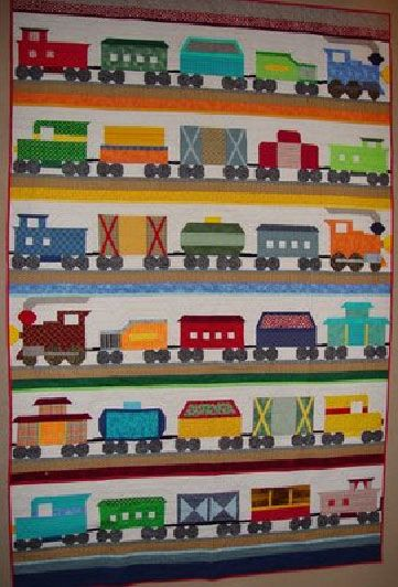 Little boy's train quilt by Janet