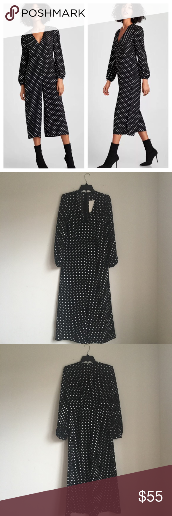 """2e2d84e828d Zara polka dot cropped jumpsuit NWT. Sz S. I have Sz M as well in a  separate listing. Pit-pit   16"""" across"""