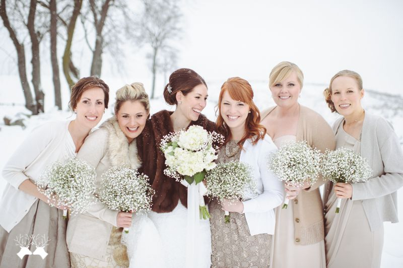 Mismatched bridesmaids gowns and pretty cool-toned cardigans. | Brit ...