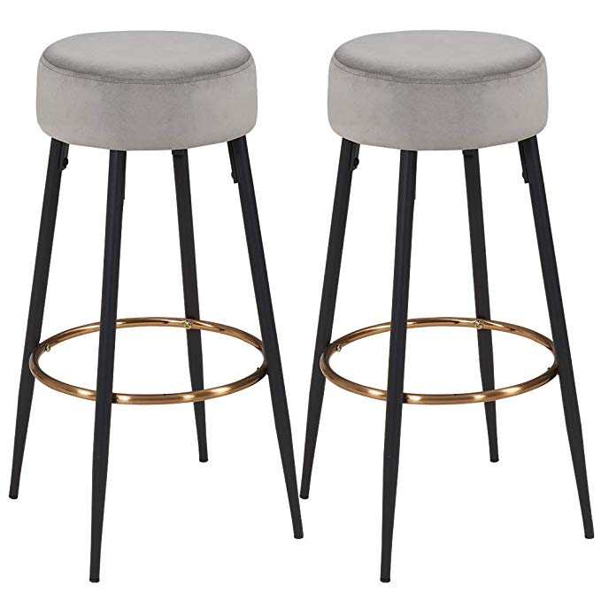 Amazon Com Duhome Elegant Lifestyle Modern Round Velvet Bar Stool