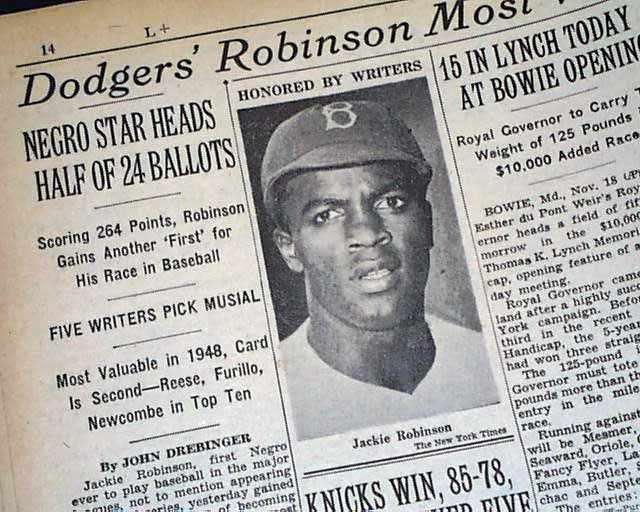 Jackie Robinson S 1st Mvp Award The New York Times November 19 1949 The Jackie Robinson Story Jackie Robinson Empire State Of Mind