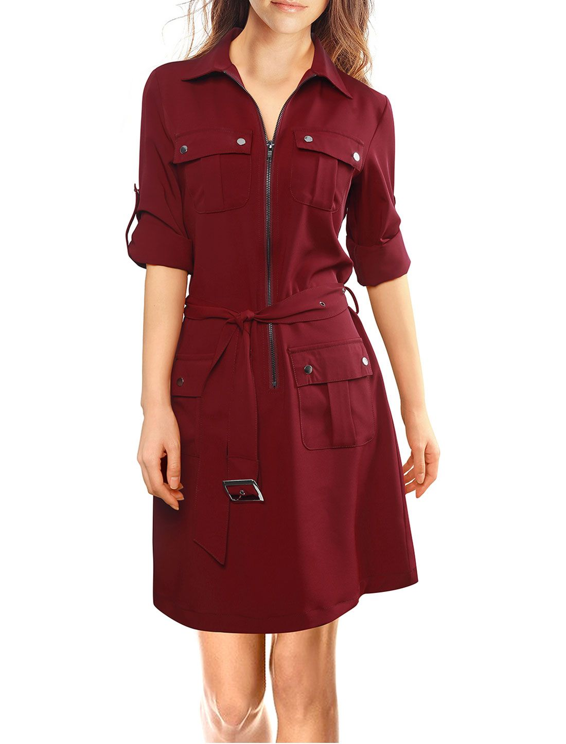 Womenus roll up sleeves multipocket belted shirt dress clothes