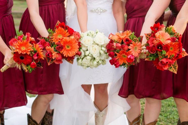 Maroon And Orange Wedding Flowers Cowgirl Boots Bridesmaids Short Wedding Dress Ideas Orange Wedding Flowers Yellow Wedding Colors Wedding Colors