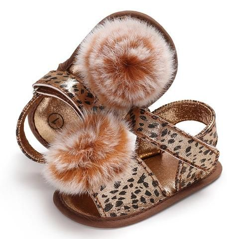 ea9ddf4b2f26 Raise Young Cotton Fabric Summer Baby Girl Sandals Furball Leopard Soft  Soles Toddler Girl Shoes Newborn