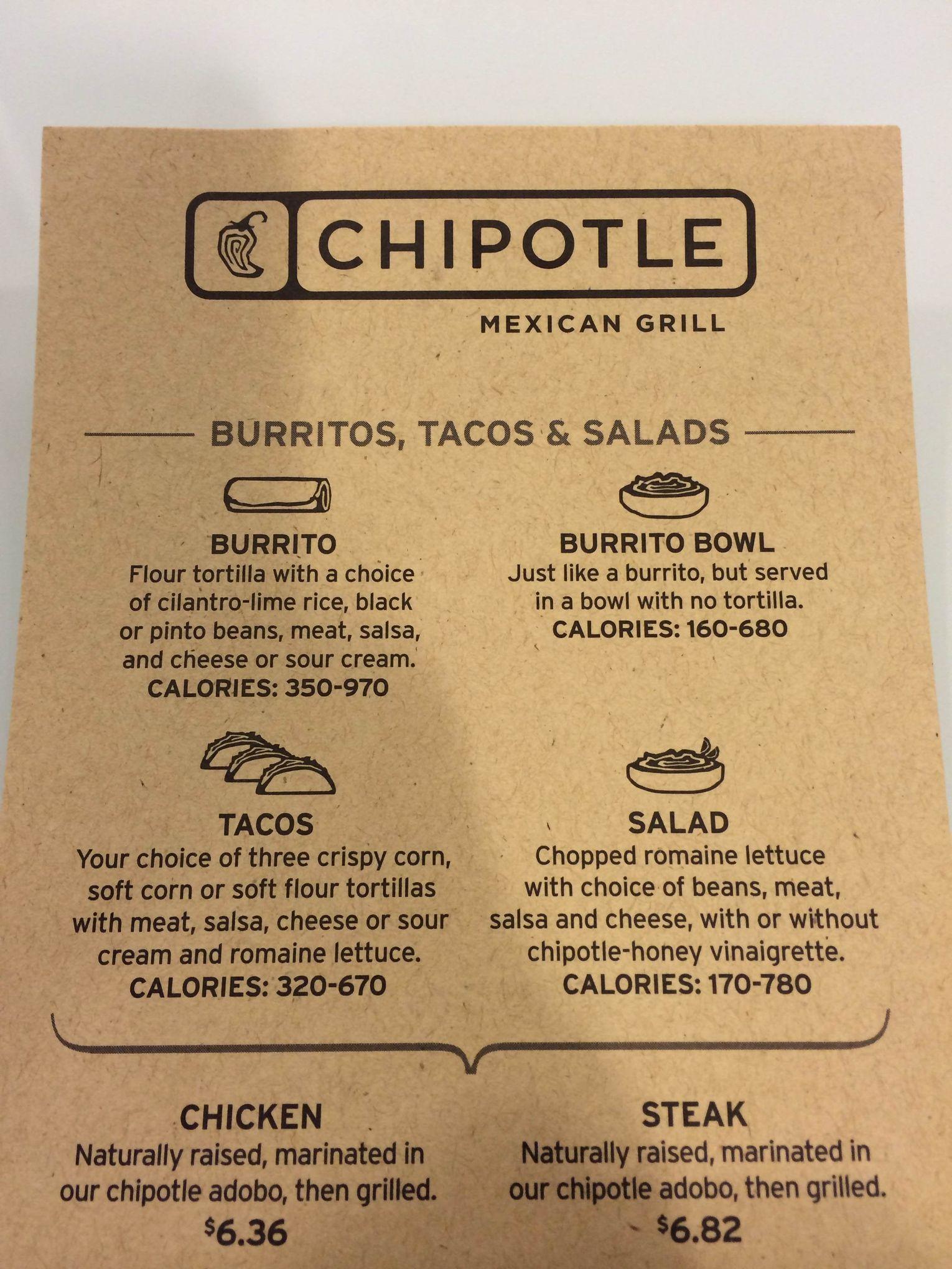Chipotle's calorie labels are a lie Chipotle menu