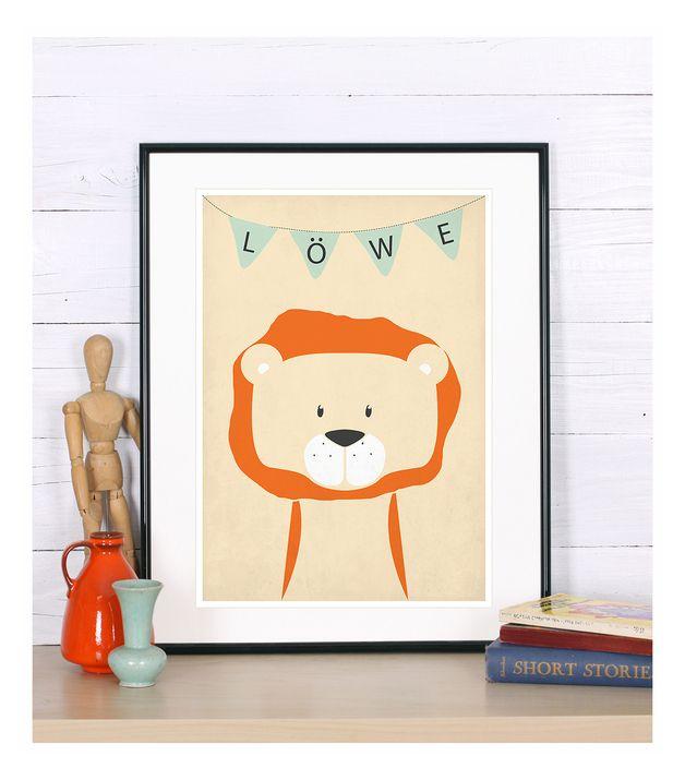 Kinderzimmer Poster, Tiere, Löwe, Kinderzimmerbild | Retro posters ...