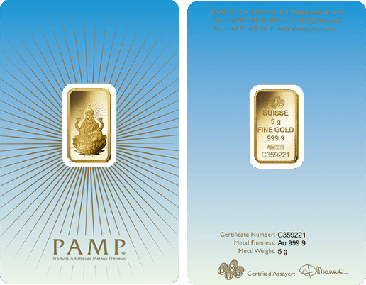 Pamp Faith Lakshmi 5 Gram Gold Bar Gold Bullion Gold Tips Gold