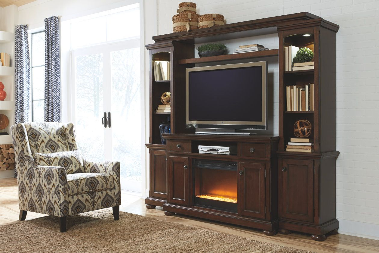 Porter 4 Piece Entertainment Center With Electric Fireplace Ashley Fu Entertainment Center Furniture Wood Entertainment Center Fireplace Entertainment Center
