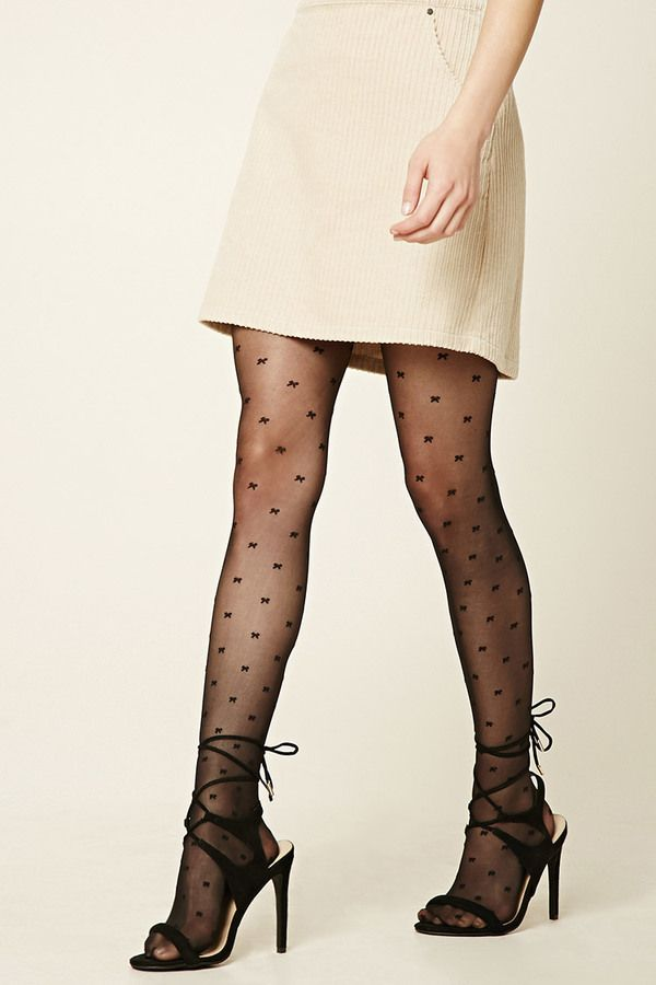 a168c0941e043 FOREVER 21 Bow Print Tights - A pair of semi-sheer tights featuring an  allover bow print and elasticized waist.
