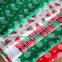 外贸JAN纯棉布料diy手工拼布贴布圣诞节面料烫金小鹿8元半米
