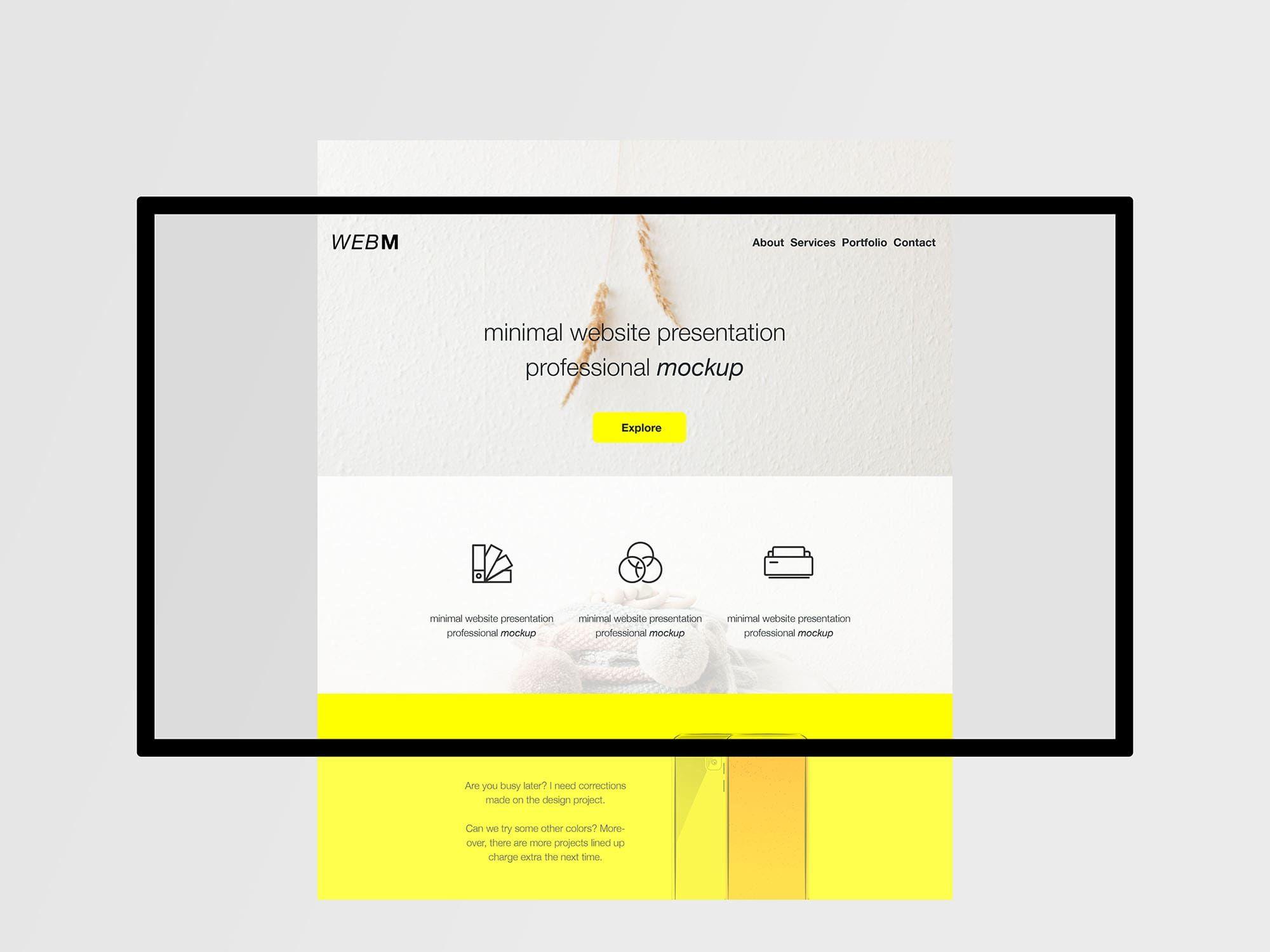 Free Minimal Flat Website Presentation Mockup Website Mockup Website Mockup Free Website Mockup Psd