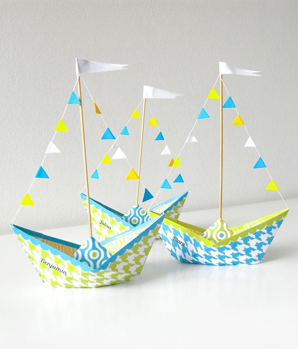 Papierboot druckvorlage zum basteln sch ne tischdeko f r - Pinterest vatertag ...