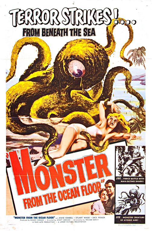 Monster From The Ocean Floor Vintage Horror Movie Wall Art Classic Horror Movies Posters Horror Movie Posters Movie Posters Vintage