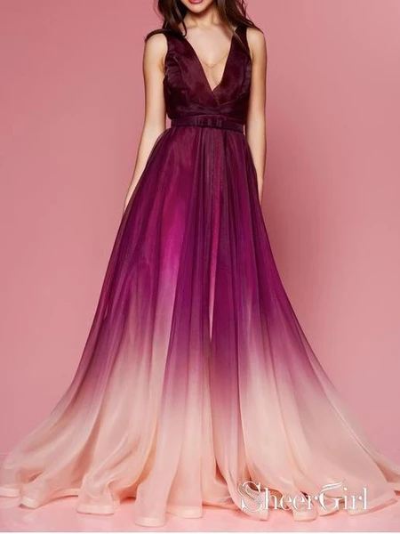 Maroon Ombre Prom Dresses V Neck Cheap Long Formal Dresses for Women ARD1343