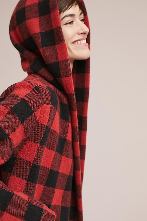 Buffalo Plaid Cardigan Coat | Red and Black Plaid hooded