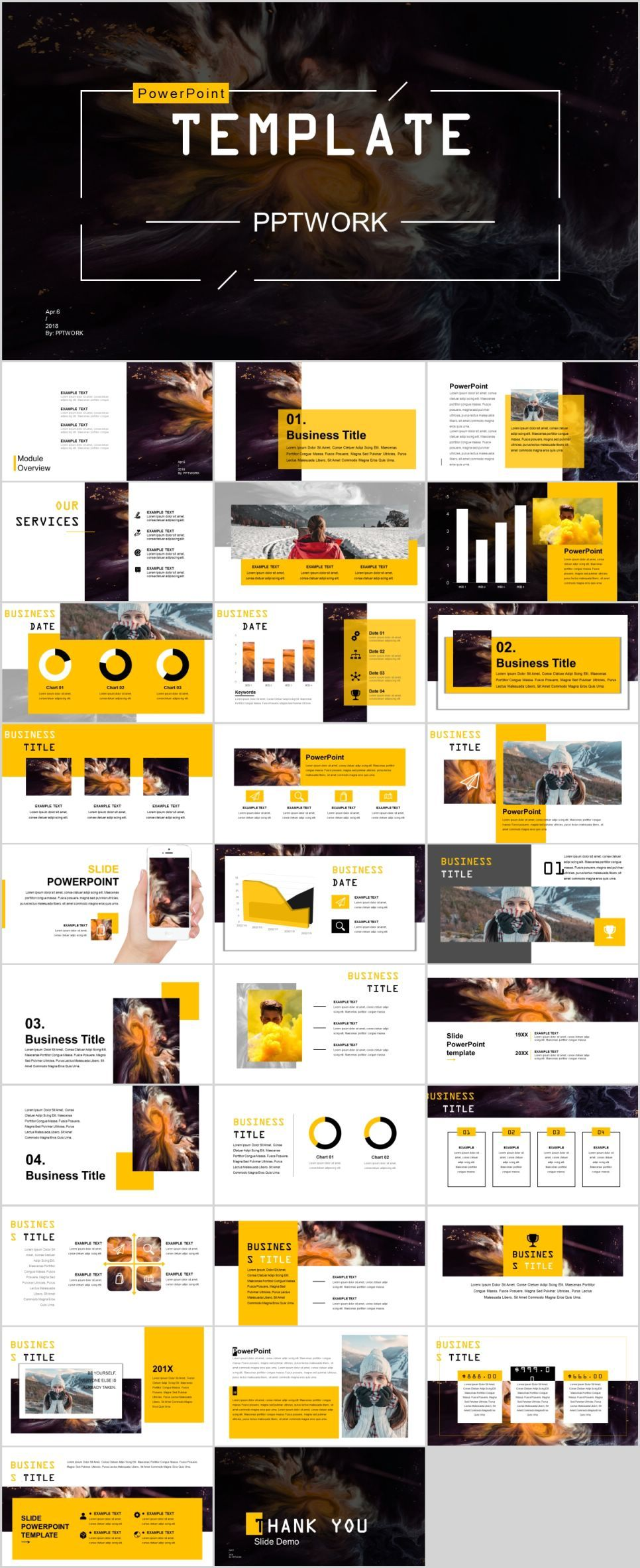 30 yellow Clean business design PowerPoint template