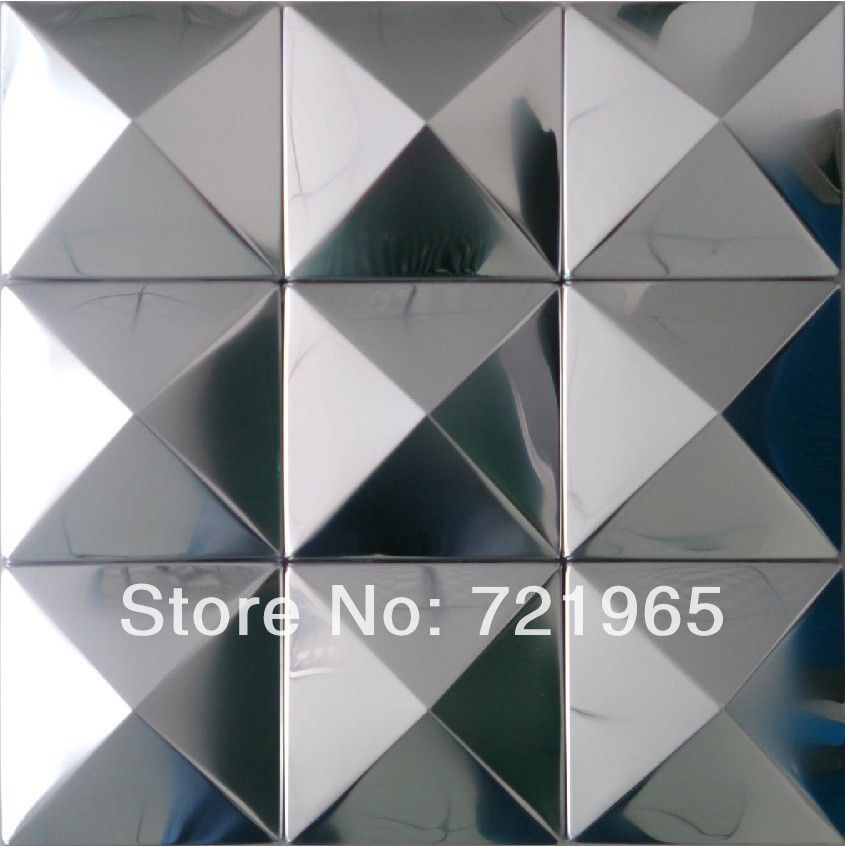 silver metal mosaic wall panel sticker smmt004 stainless steel