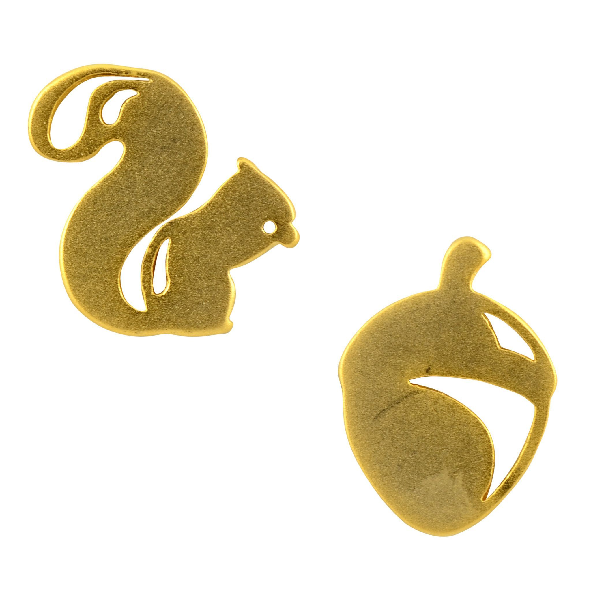Gold Plated Mismatched Squirrel/Acorn Stud Earrings