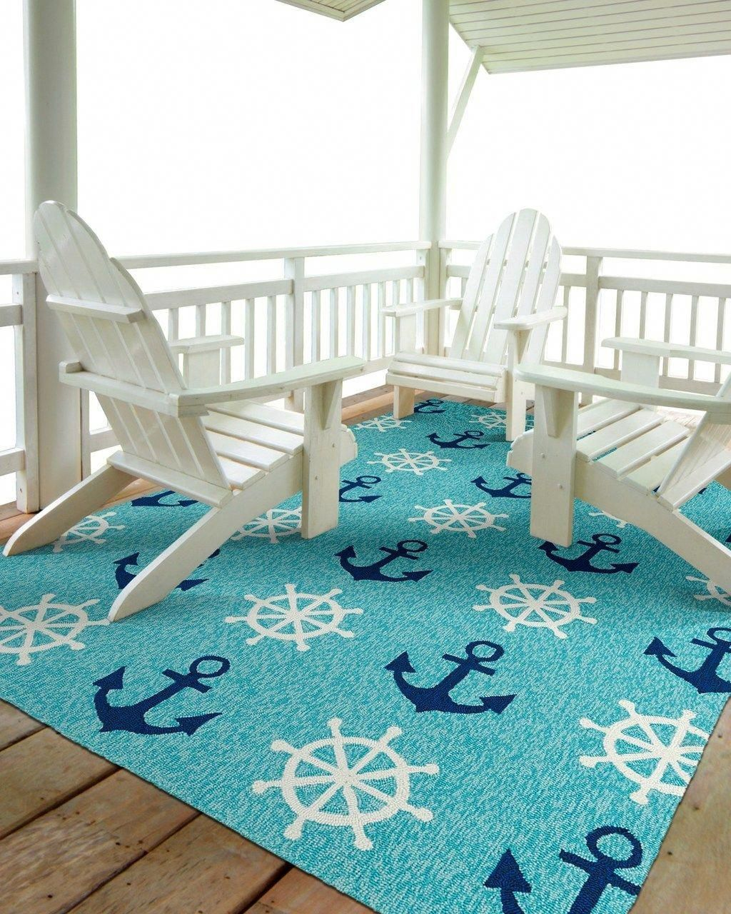 Turquoise Ship Wheels And Anchors Nautical Rug Nauticalhomestyle