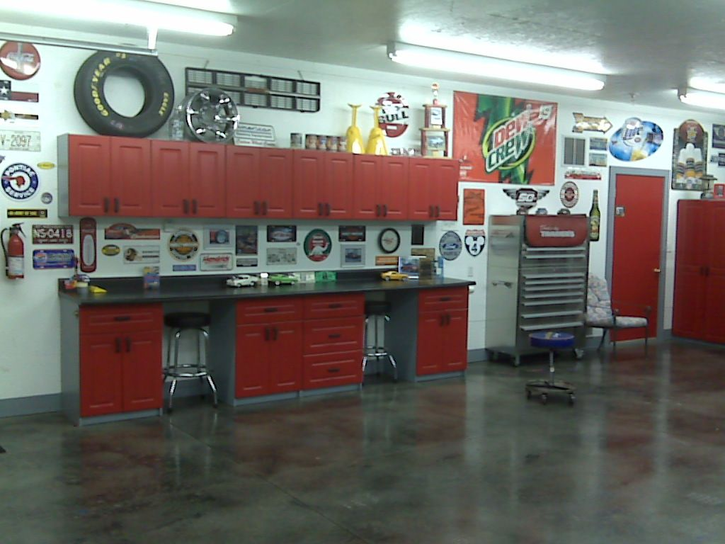 Painted red these kitchen cabinets look great in the garage