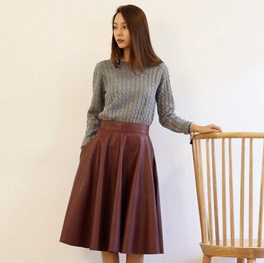 Aliexpress.com: Comprar Alta cintura de la mujer PU falda de cuero 2015 nueva mujer moda primavera de época de gran Swing largo Midi faldas negro rojo QT128 de falda vintage fiable proveedores en Online Store 737105