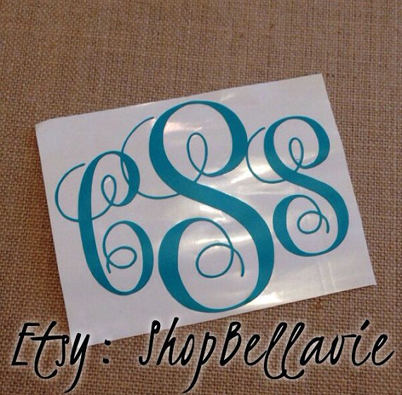 Three 3 initial vinyl monogram decal etsy shopbellavie initials car